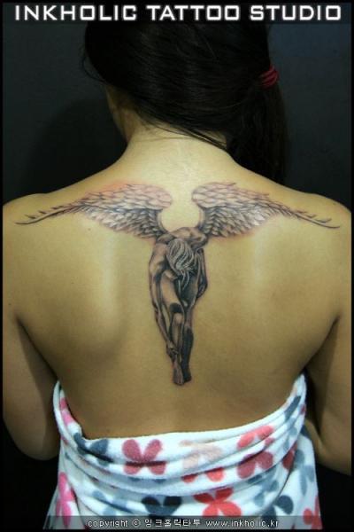 Back Angel Wings Tattoo by Inkholic Tattoo