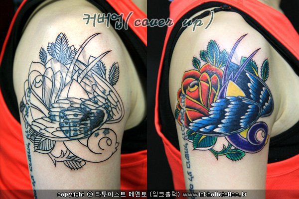 Schulter Old School Blumen Spatz Cover-Up Tattoo von Inkholic Tattoo