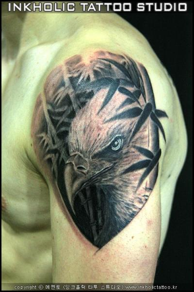 Shoulder Realistic Eagle Tattoo by Inkholic Tattoo