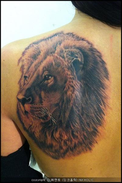 Shoulder Realistic Lion Tattoo by Inkholic Tattoo