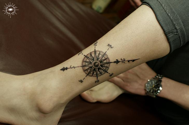 Leg Compass Tattoo by Song Yeon