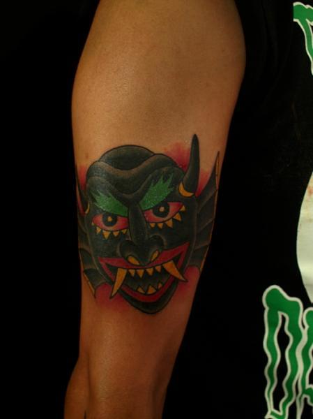 Arm Demon Tattoo by Sunrat Tattoo