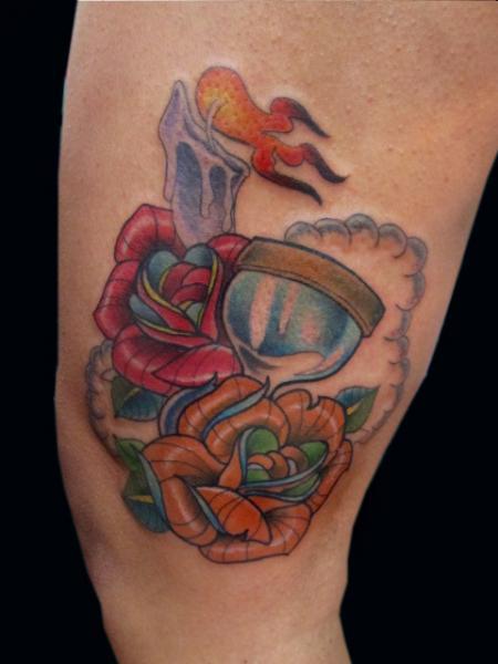 Arm Flower Clepsydra Tattoo by Sunrat Tattoo
