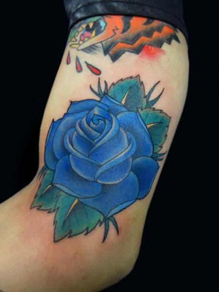 Arm Flower Tattoo by Sunrat Tattoo