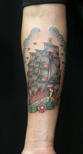 Arm Old School Galleon Tattoo by Sunrat Tattoo