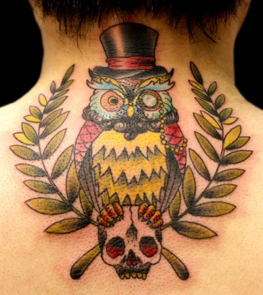 New School Back Neck Owl Tattoo by Sunrat Tattoo