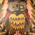 New School Back Neck Owl tattoo by Sunrat Tattoo