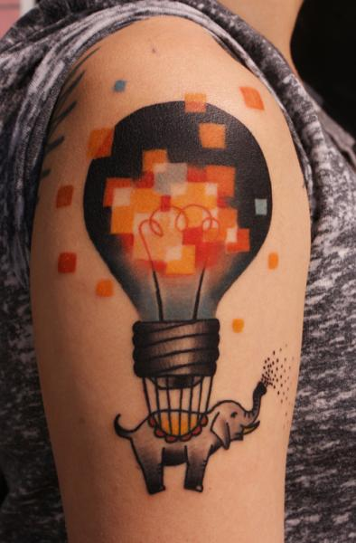 Shoulder Arm Fantasy Elephant Lamp Balloon Tattoo by Sunrat Tattoo