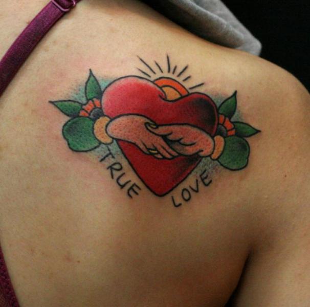 Shoulder Heart Tattoo by Sunrat Tattoo