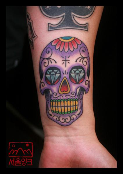 Arm New School Skull Tattoo by Seoul Ink Tattoo