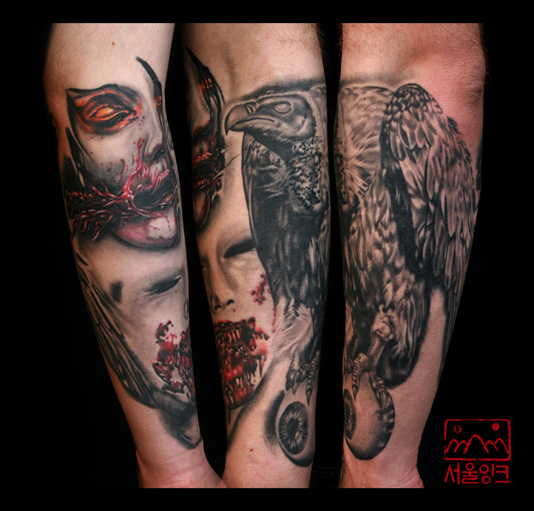 Arm Realistic Vulture Tattoo by Seoul Ink Tattoo