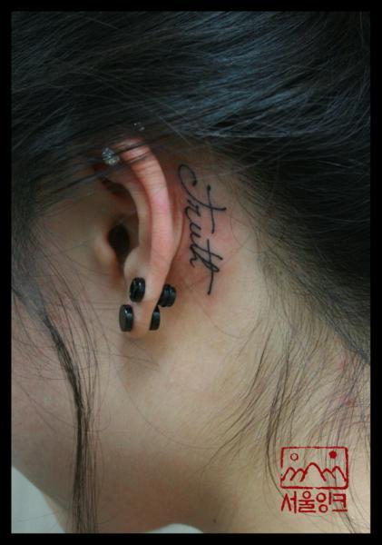 Lettering Head Fonts Tattoo by Seoul Ink Tattoo
