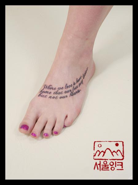 Foot Lettering Fonts Tattoo by Seoul Ink Tattoo