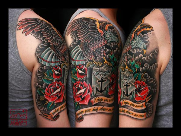 Shoulder Arm Old School Eagle Flowers Tattoo by Seoul Ink Tattoo