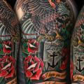 Shoulder Arm Old School Eagle Flowers tattoo by Seoul Ink Tattoo