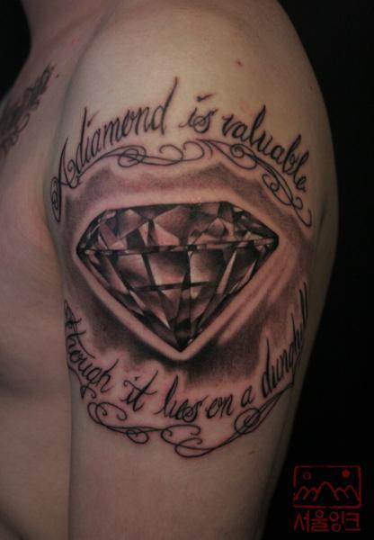 Shoulder Diamond Tattoo by Seoul Ink Tattoo