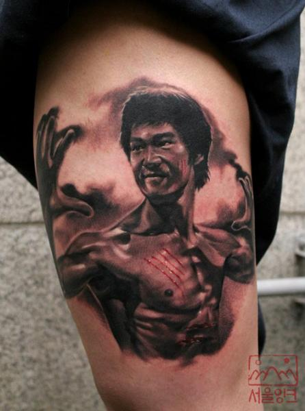 Realistic Bruce Lee Thigh Tattoo by Seoul Ink Tattoo