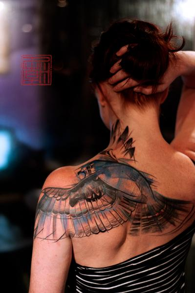 Shoulder Back Bird Tattoo by Tattoo Temple