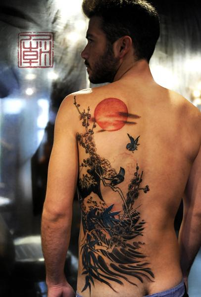 Side Back Landscape Tattoo by Tattoo Temple
