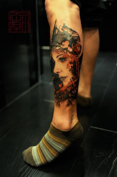 Realistic Calf Women Tattoo by Tattoo Temple