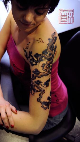 Tatuaggio Spalla Braccio Albero di Tattoo Temple