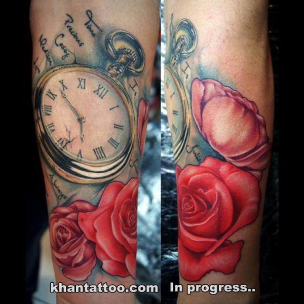 Arm Clock Flower Tattoo by Khan Tattoo