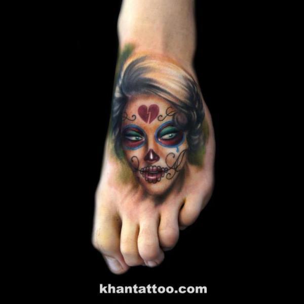 Foot Mexican Skull Women Tattoo by Khan Tattoo