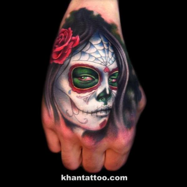 Mexican Skull Hand Tattoo by Khan Tattoo