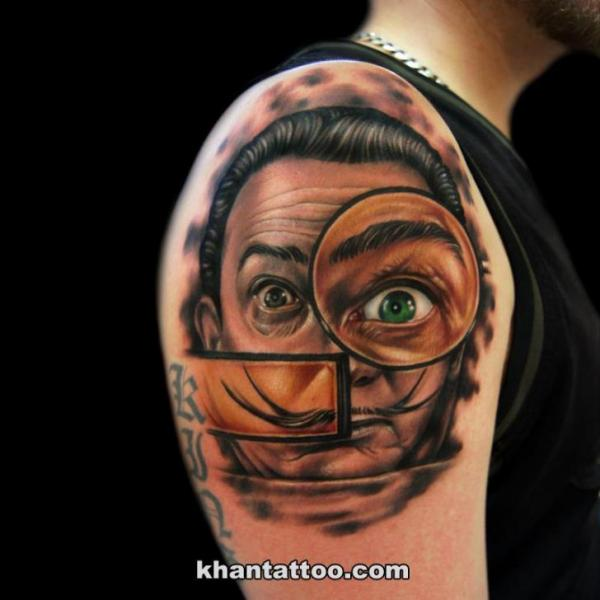 Shoulder Fantasy Salvador Dali Tattoo by Khan Tattoo