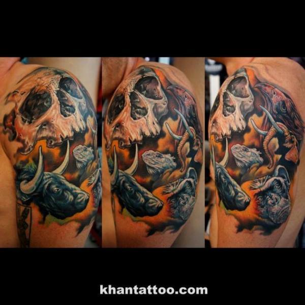 Shoulder Skull Tattoo by Khan Tattoo