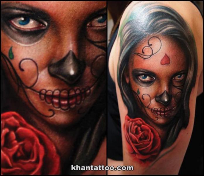 Schulter Frauen Rose Tattoo von Khan Tattoo