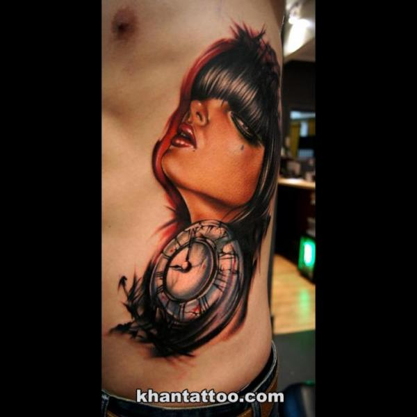 Clock Side Women Tattoo by Khan Tattoo