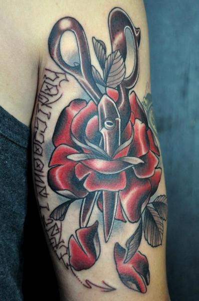 Arm Old School Scissor Flower Tattoo by Detroit Diesel Tattoo