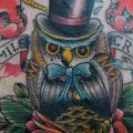 Old School Back Neck Owl tattoo by Detroit Diesel Tattoo