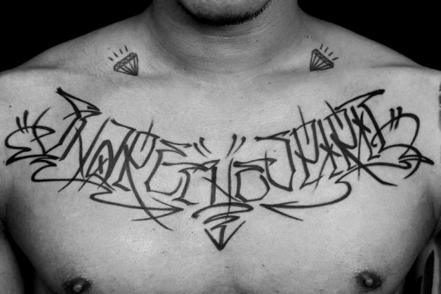 Chest Lettering Fonts Tattoo by Detroit Diesel Tattoo