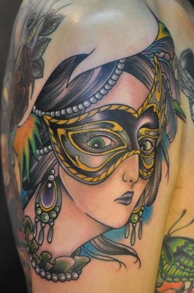Shoulder New School Women Mask Tattoo by Detroit Diesel Tattoo