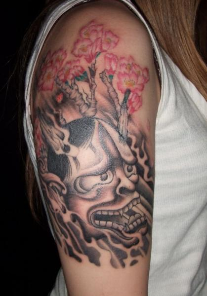 Shoulder Japanese Demon Tattoo by Fact Tattoo