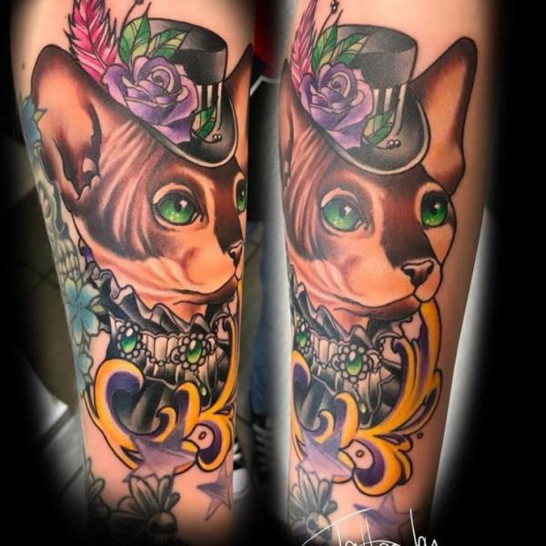 Arm Cat Hat Tattoo by Artifex Tattoo