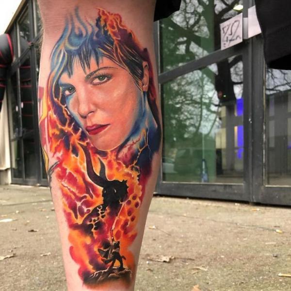 Portrait Calf Woman Tattoo by Artifex Tattoo
