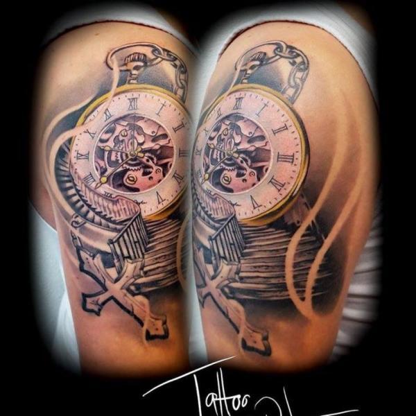 Shoulder Clock Tattoo by Artifex Tattoo