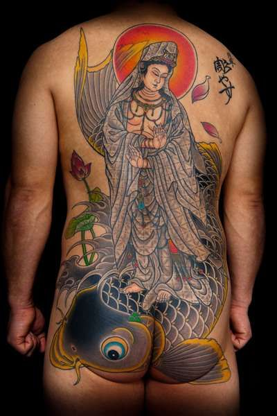Japanese Buddha Back Carp Butt Tattoo by Horiyasu Tattoo