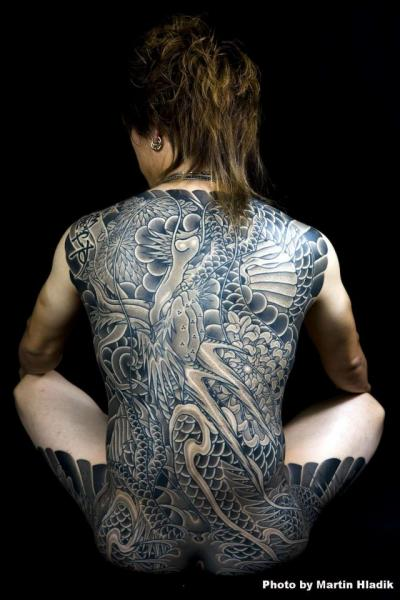 Japanese Back Dragon Tattoo by Horiyasu Tattoo