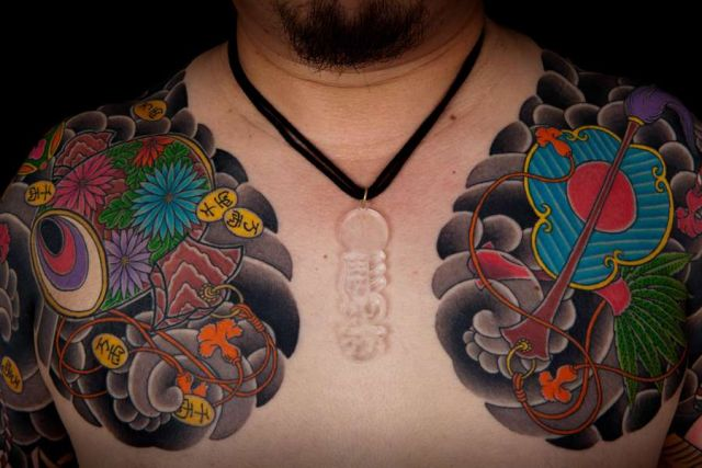 Shoulder Chest Japanese Tattoo by Horiyasu Tattoo