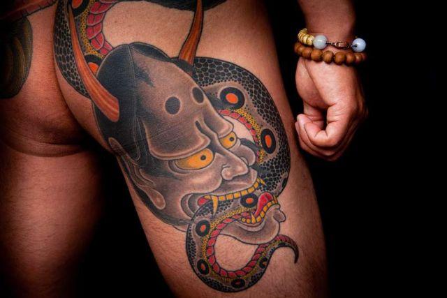 Snake Japanese Demon Butt Thigh Tattoo by Horiyasu Tattoo