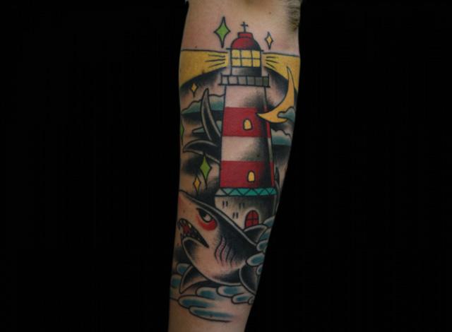 Arm Lighthouse Shark Tattoo by Inkrat Tattoo