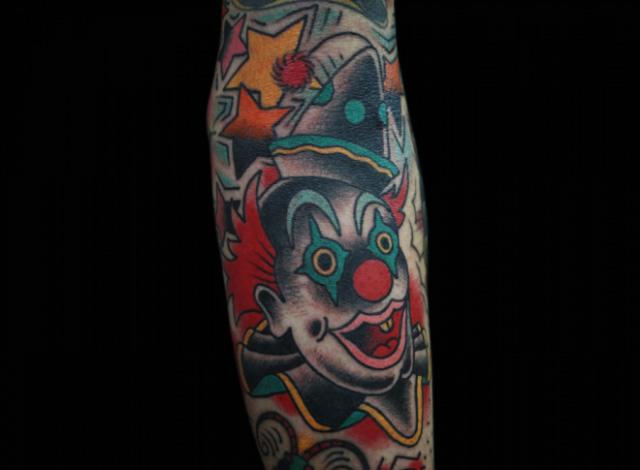 Arm Old School Clown Tattoo by Inkrat Tattoo