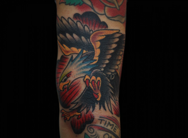 Arm Old School Eagle Tattoo by Inkrat Tattoo