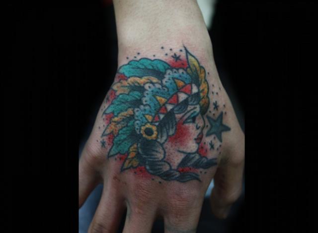 Arm Old School Indian Tattoo by Inkrat Tattoo