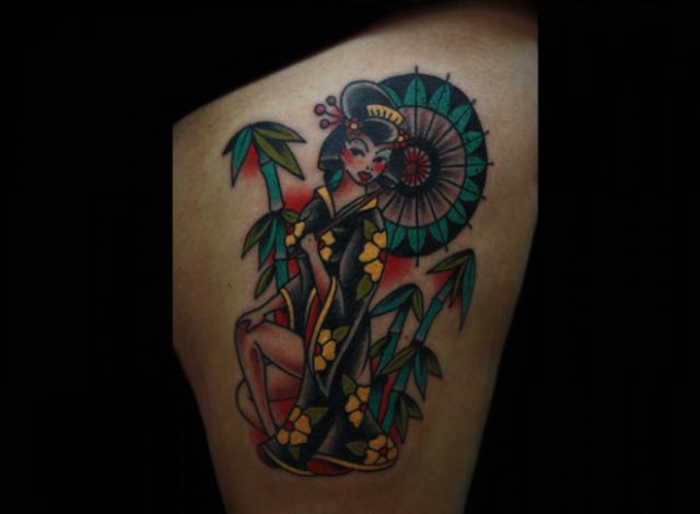 Old School Thigh Tattoo by Inkrat Tattoo