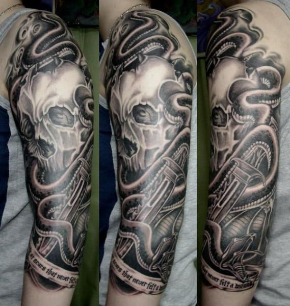 Arm Snake Skull Dagger Tattoo by Koji Tattoo